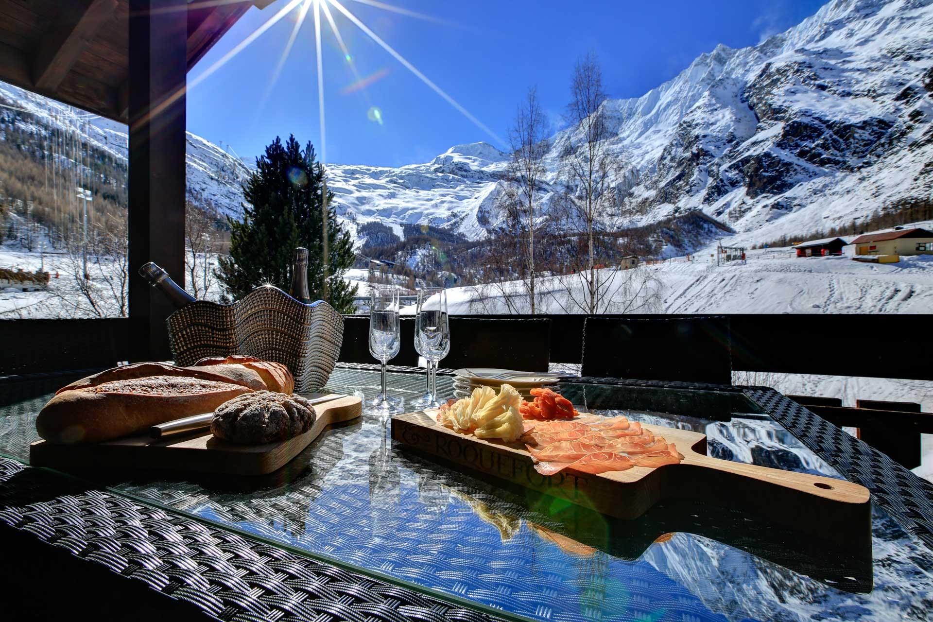 Luxus Appartement Chalet Khione Saas-Fee - Balkon