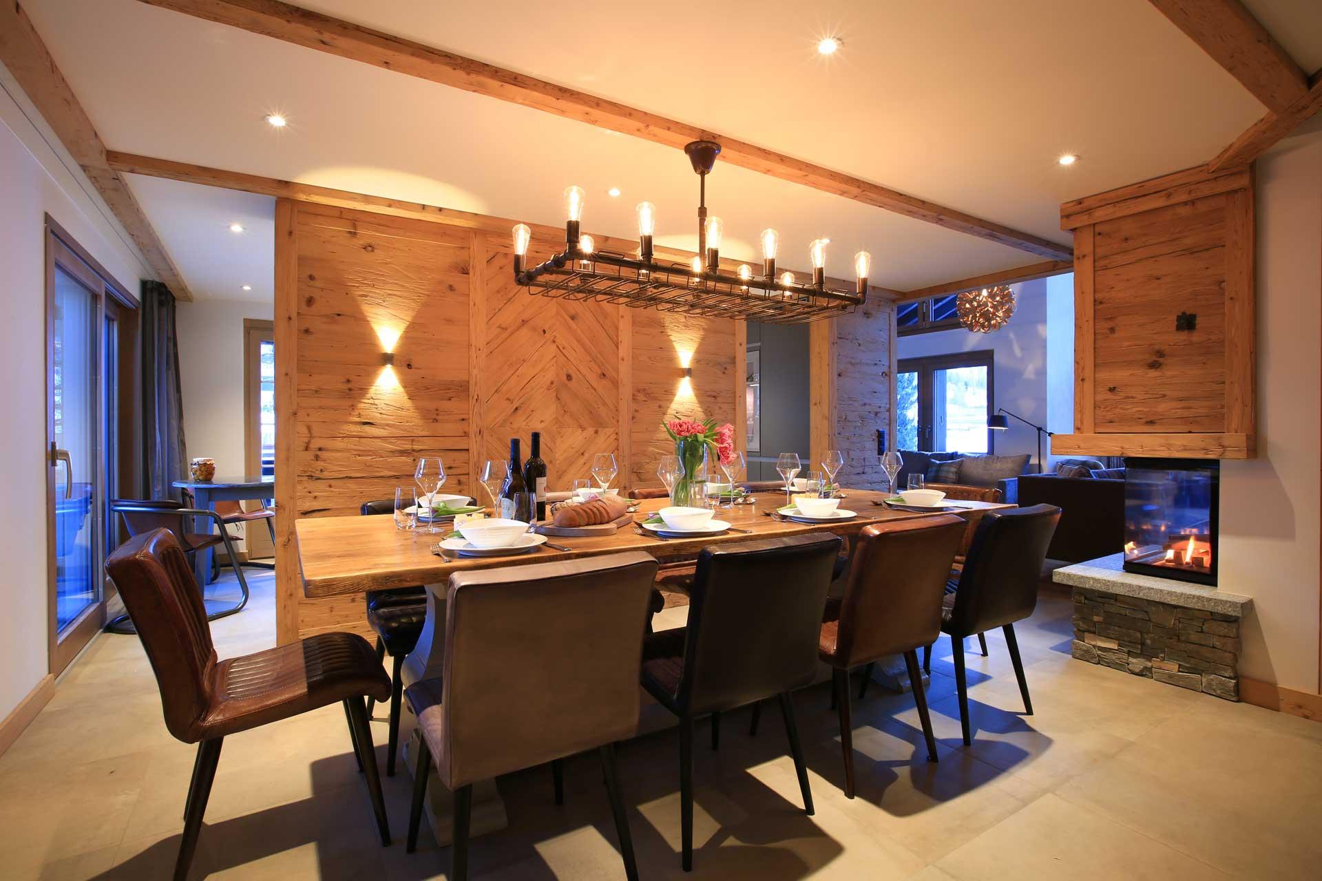 Luxus Appartement Chalet Khione Saas-Fee - Essbereich
