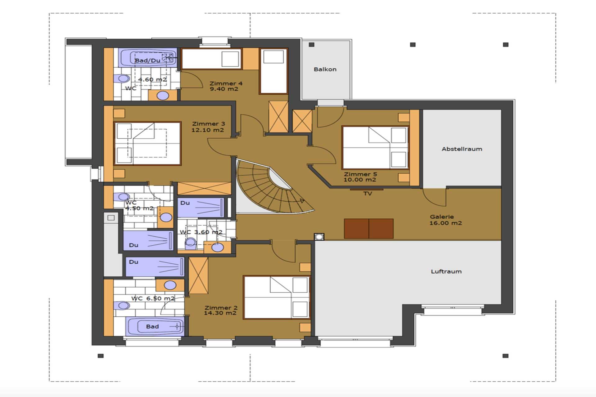 Luxus Appartement Chalet Khione Saas-Fee - Grundriss Schlafebene