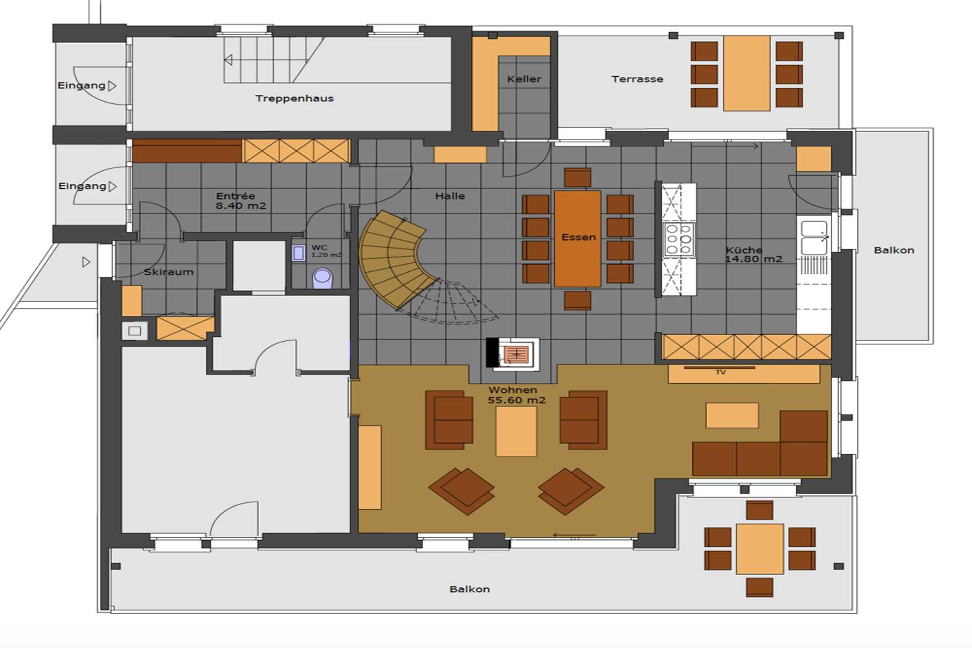 Luxus Appartement Chalet Khione Saas-Fee - Grundriss Wohnbereich