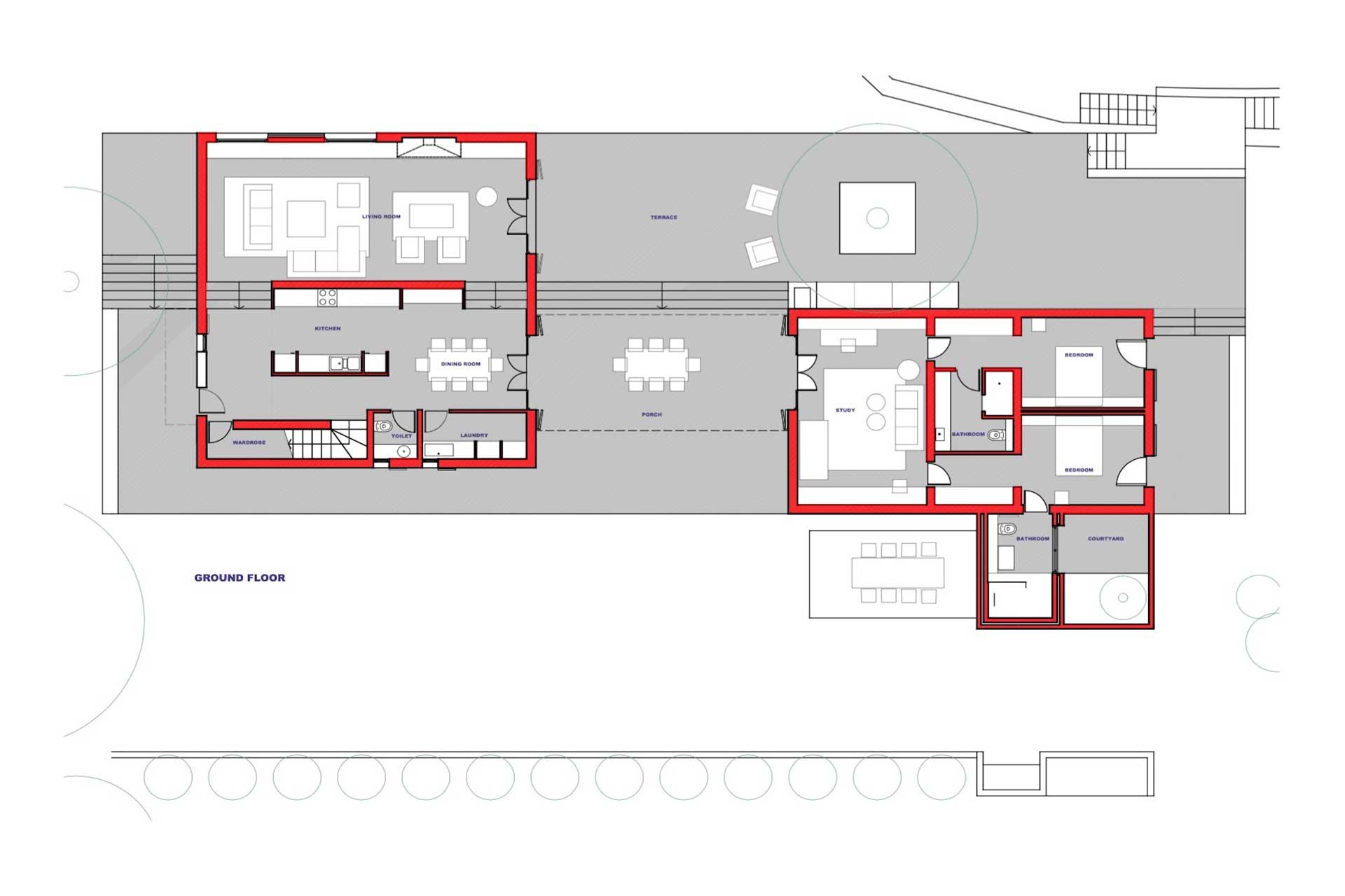 Villa Poeta - Floor plan main-/outbuilding
