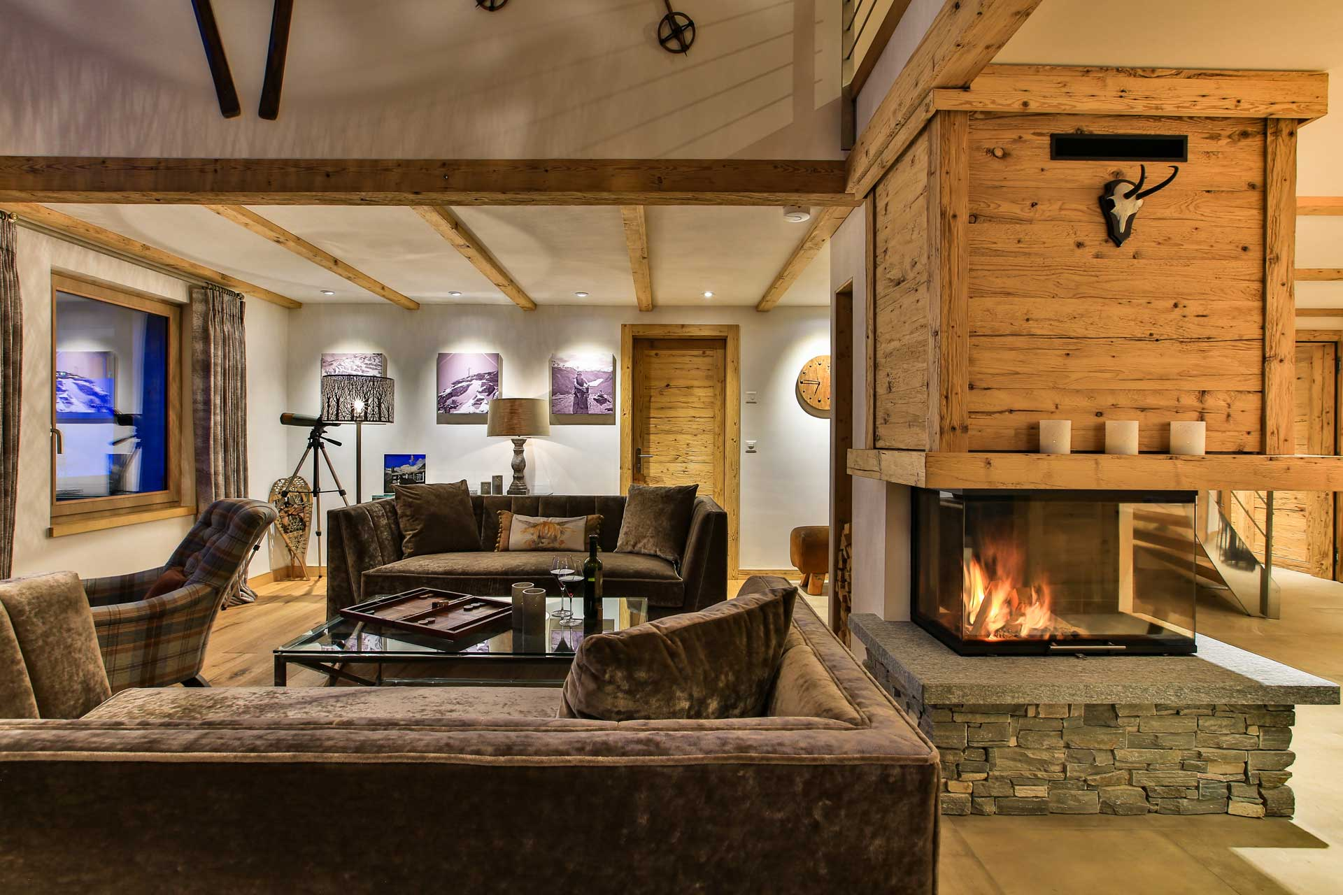 Luxus Appartement Chalet Khione Saas-Fee - Wohnbereich